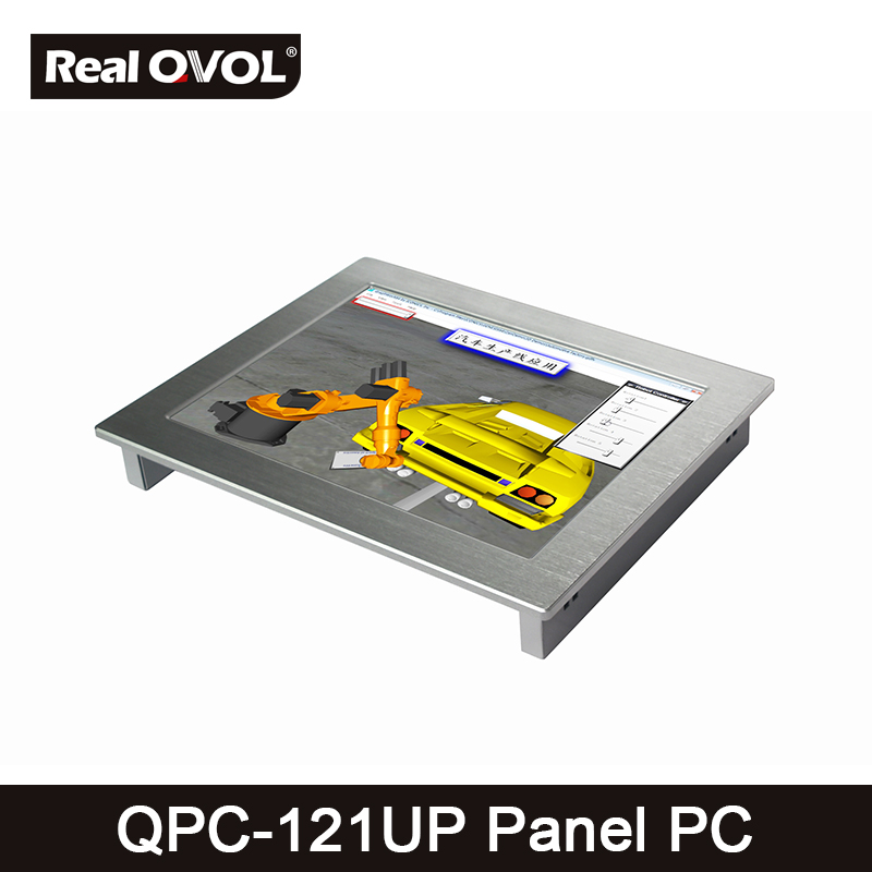 QPC-121UP Panel touch PC industrial computer fanless Intel 1037U 1.8GHz CPU, 32GB SSD with VGA HDMI port & 4 Serial Port,2 LAN thin client fanless industrial pc embedded intel celeron 1037u 4 rs232com port 2 gigabit lan usb3 0 win 7
