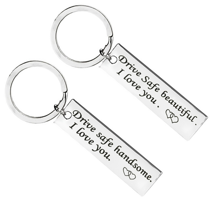 US $0 85 |Custom Fashion Keyring Gifts Engraved Drive Safe Keychain Couples  Boyfriend Girlfriend Jewelry Key Chain-in Key Chains from Jewelry &