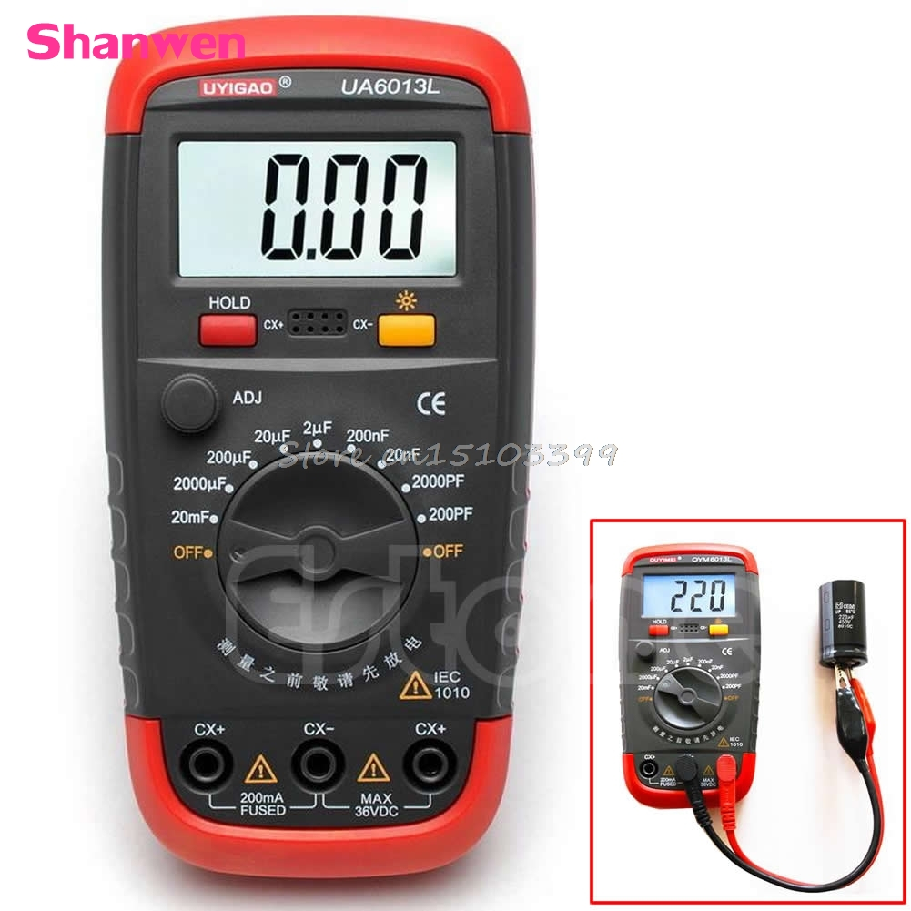 New UA6013L Digital Auto Range Capacitor Capacitance Tester Meter G08 Drop ship jfbl new m6013 auto range digital capacitor capacitance tester meter 0 01pf to 470mf