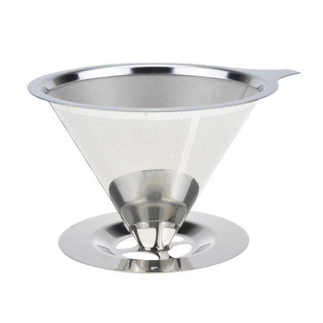 Stainless Steel Cone Reusable Coffee Filter Baskets Mesh Strainer