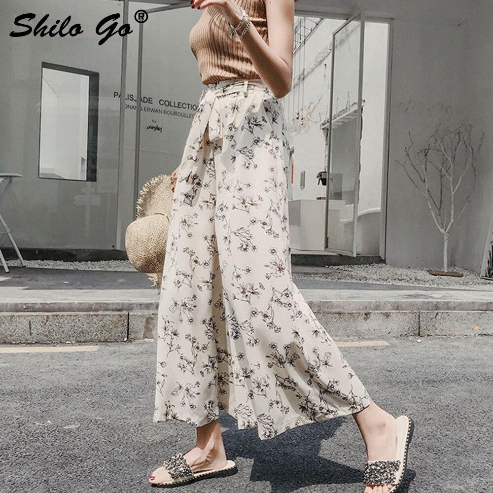 Floral Print Casual Wide Leg   Pants     Capri   Split Loose Wide Leg   Pants   Women Chiffon High Waist   Pants   Summer Trousers 2019 Female
