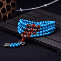of male and female counter multi ring bracelet with 108 silver beads collocation synthetic Turquoise crystal jewelry