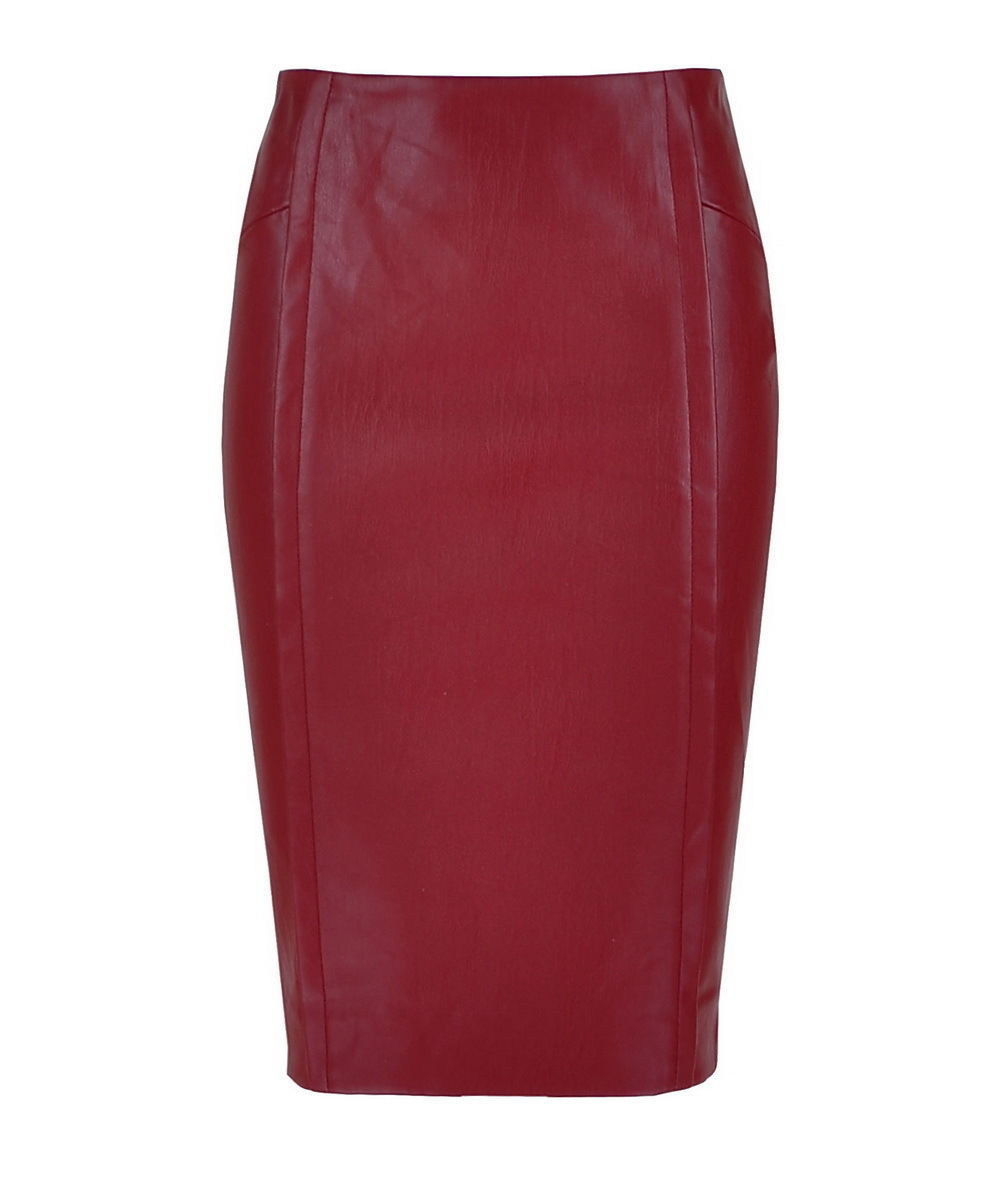 Online Shop Burgundy/Ruby/Carmine Faux Leather Pencil Midi Skirt ...
