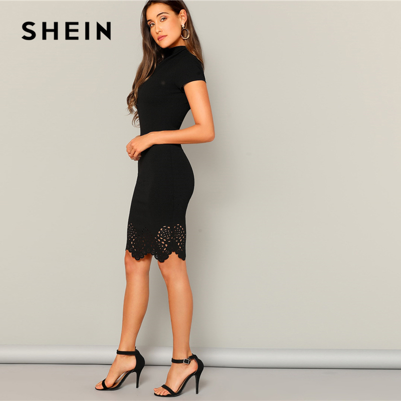 SHEIN Black Laser Cut Scallop High Neck Summer Pencil Dress Women Office Lady Short Sleeve Solid Bodycon Sexy Classy Dresses 1