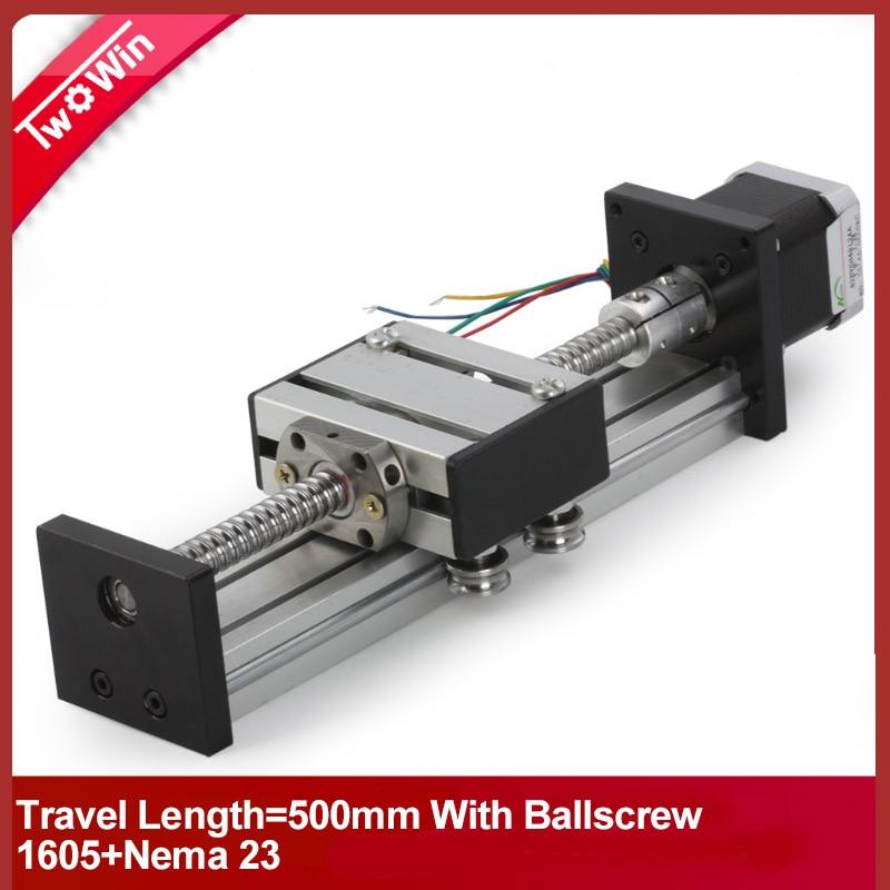 500mm travel length linear guide rail cnc Stage Linear Motion Moulde Linear Ballscrew 1605 name 23 stepper motor