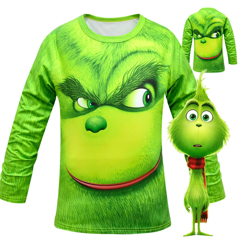 Boys The Grinchcosplay Costumes T-shirt For Boy Grinchcostumes Sweatshirt Kids Long Sleeve T Shirts Children Cartoon Undercoat