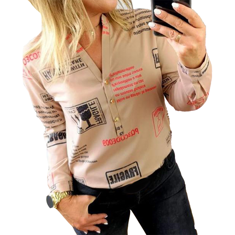 Autumn Women   Blouse     Shirts   Fashion Lady White Blusas Buttons V-neck Sexy Tops Long Sleeve Letters Printed   Shirts   Spring M0303