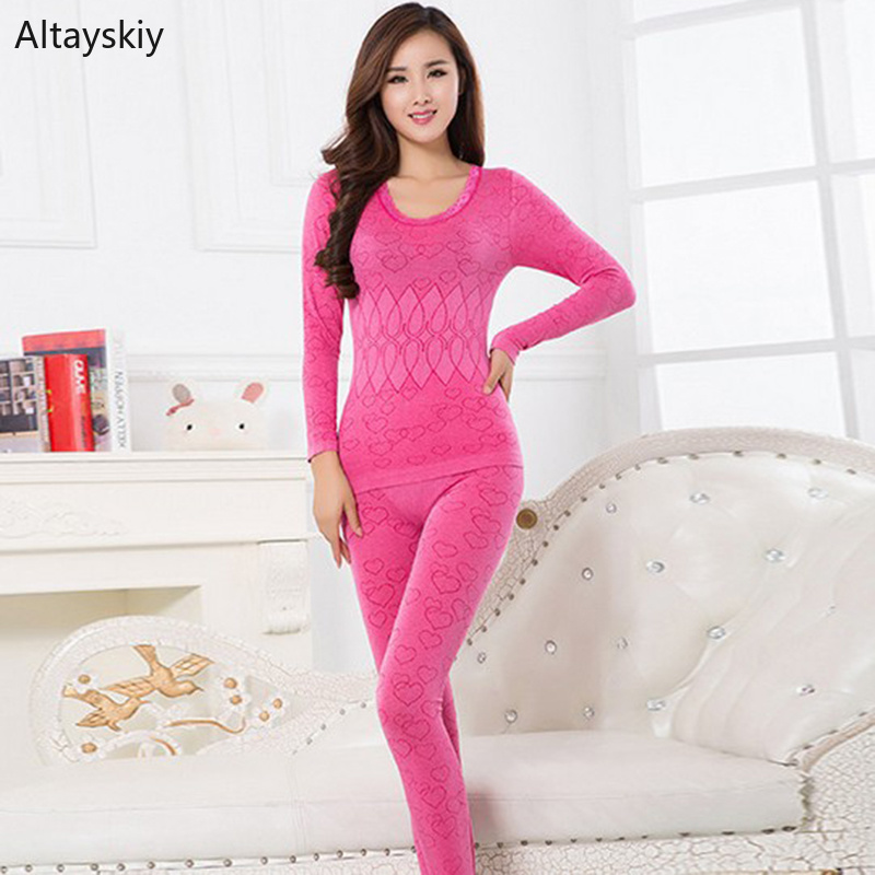 Thermal Underwear Women Tight Heart Pattern Lace O-Neck Abdomen Womens Sets Slim Comfortable Thin Simple Solid Bottoming Elegant