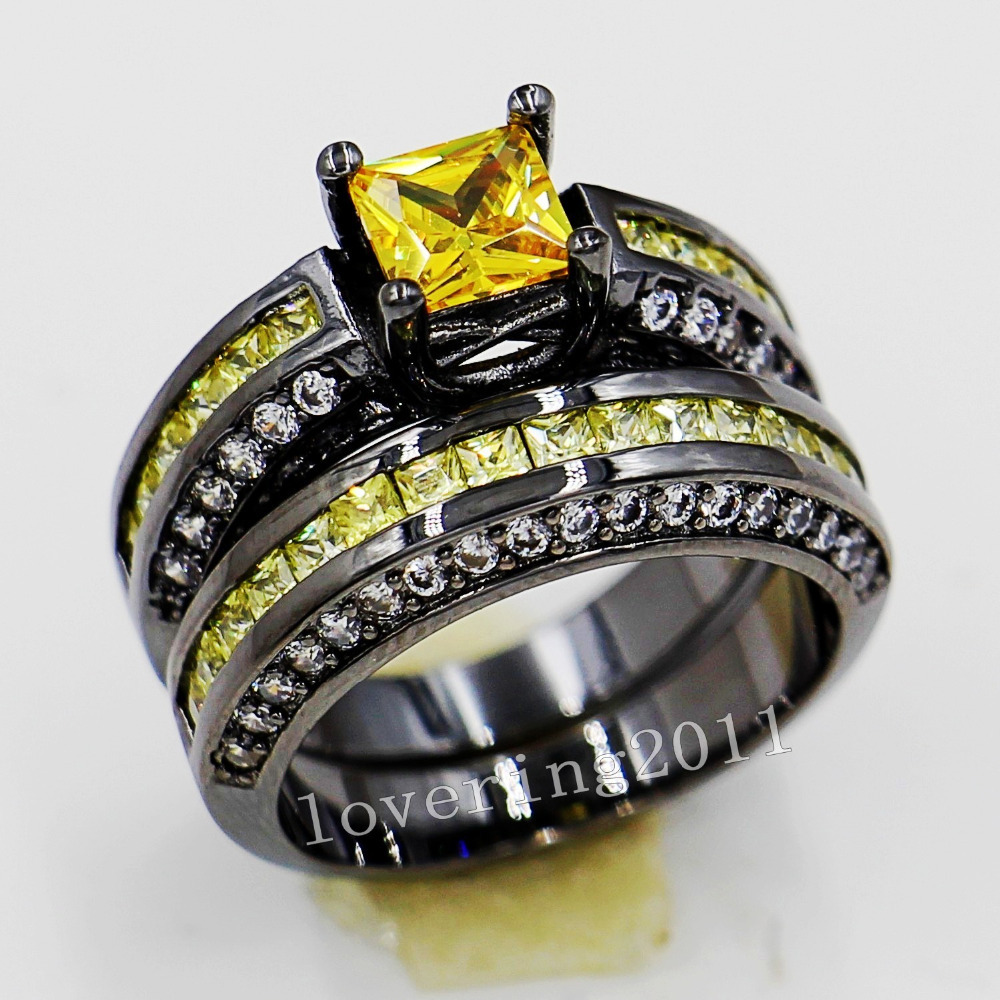 Choucong Lovers Engagement 6mm Yellow Stone 5a Zircon Stone 10kt Black Gold  Filled 2 Wedding Band Ring Sets Sz 511 Gift