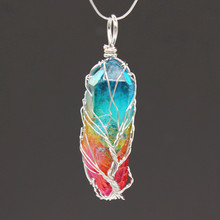 Trendy-beads Silver Plated Wire Wrap Irregular Shape Colorful Crystal Pendant Ethnic Style Jewelry