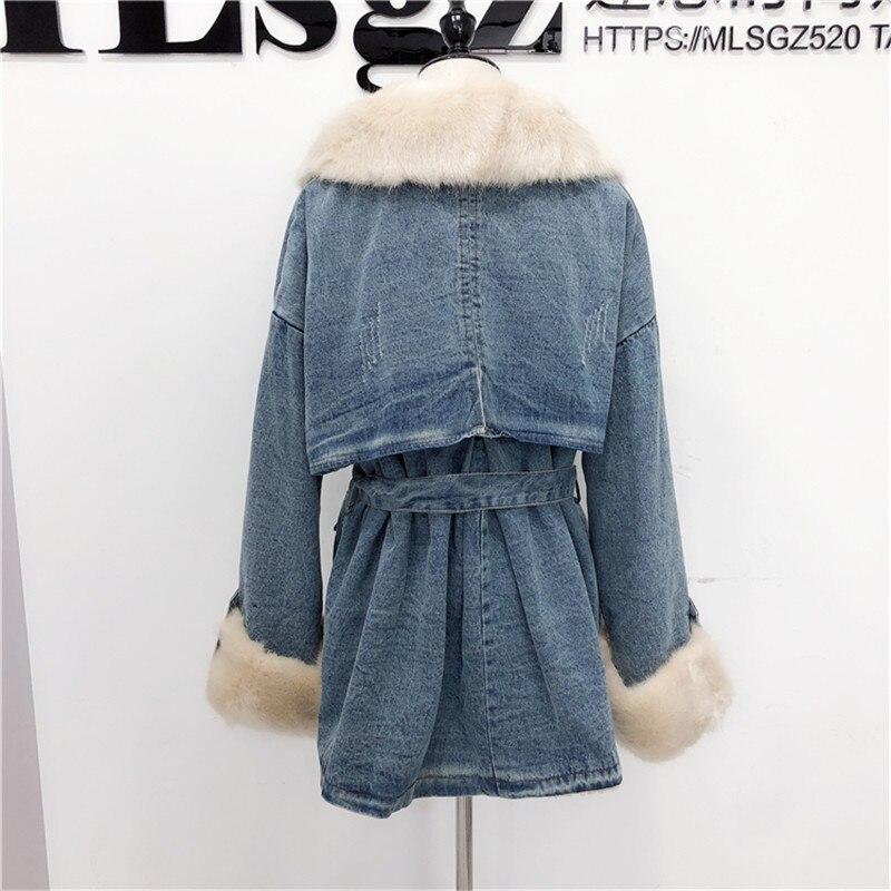 A122 Casual Chaud Taille De Épaississent Bleu Coton Cachemire Simple Longue Manteau Femmes Agneau Mode Veste D'hiver P6qwwCxF