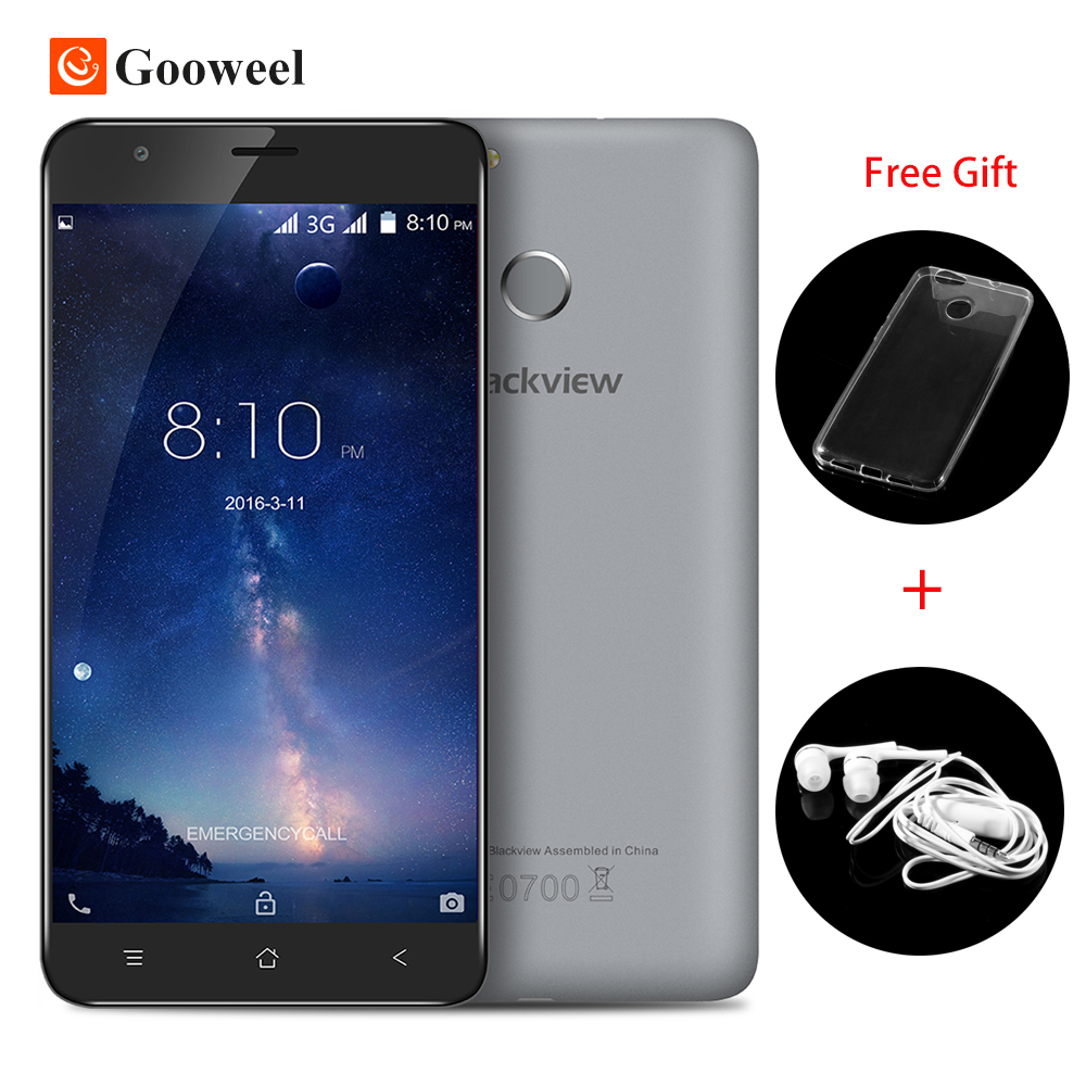 "Blackview E7S Fingerprint ID Mobile Phone 5.5"" HD IPS MTK6580 Quad Core 2GB RAM 16GB ROM Android 6.0 3G phone"