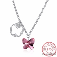 Cute Butterfly Necklace Pendant Blue/Pink Crystals From Real 925 Sterling Silver Chain Necklace Choker For Women Girl