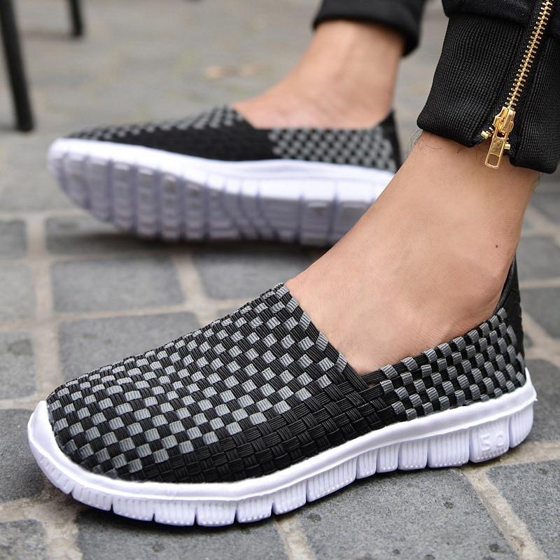 2018 Summer men flats sandals Shoes men woven flat shoes ladies multi colors slip on sandals female brand loafers 52
