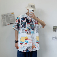 2019 Summer Men Casual Loose Arts Letter Printing White Cotton Camisa Turn down Collar Short Sleeve Hawaiian Shirt Homme M XL
