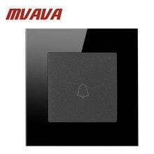 Mvava черный стеклянный материал для кристаллов панель 1 банда настенная кнопка дверного звонка AC110-250V настенный переключатель Нажмите кнопку переключатель дверного звонка