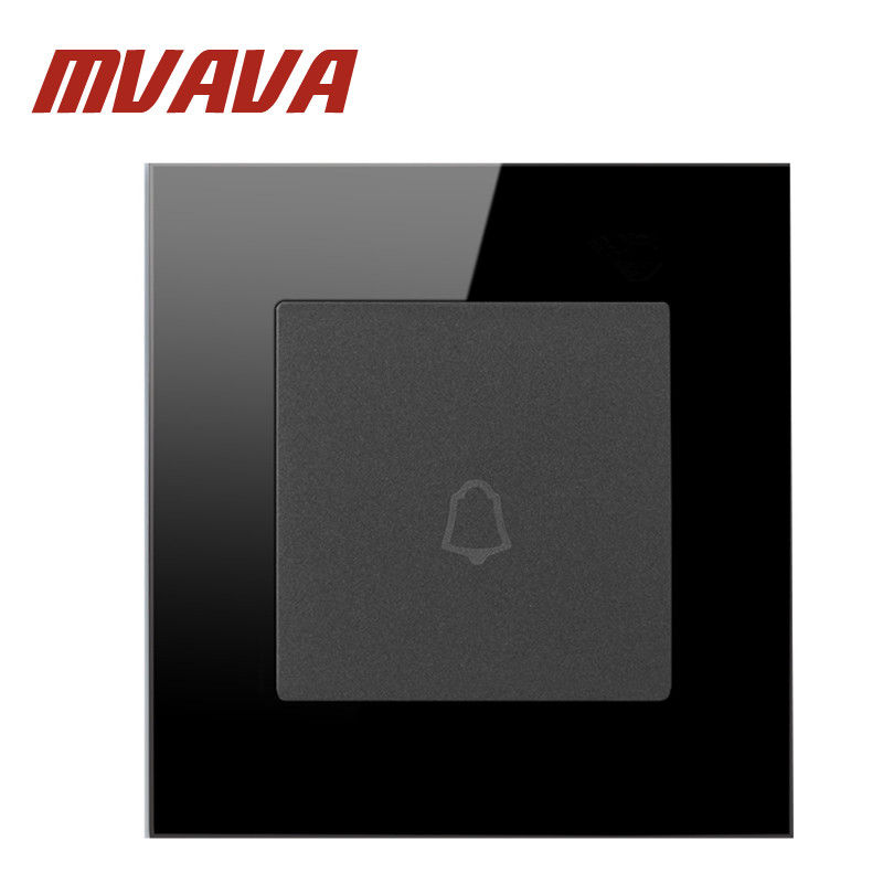 цены  Mvava Black Crystal Glass Material Panel  1 Gang Wall Door Bell Switch AC110-250V Wall Switch Push Press Button Doorbell Switch