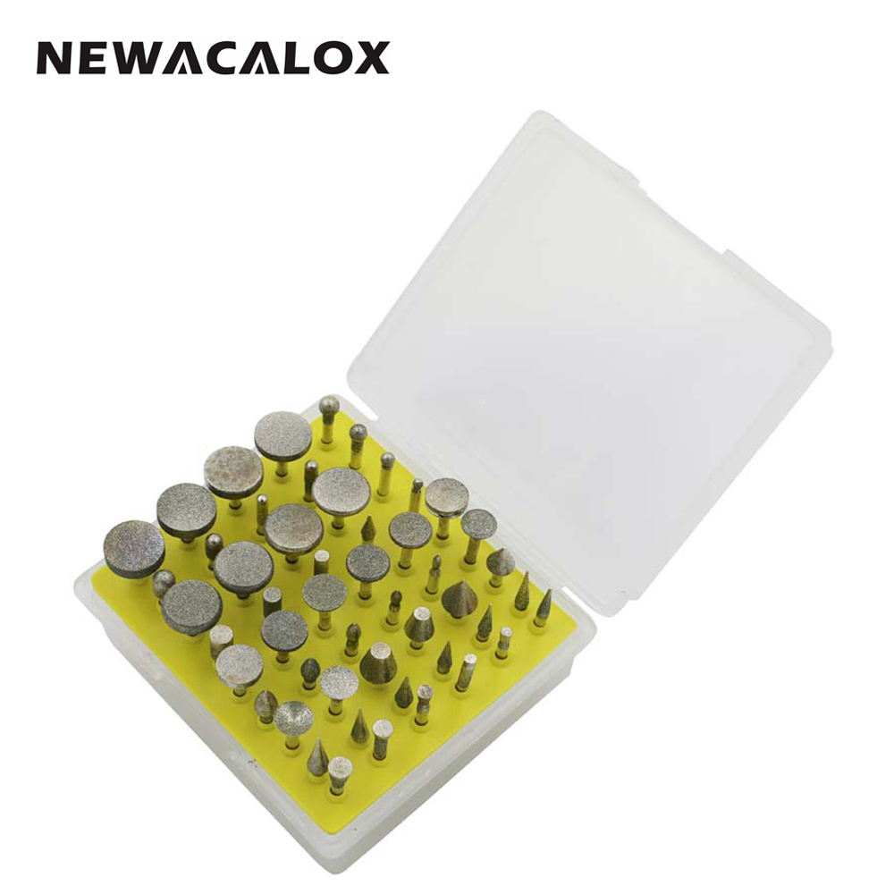 NEWACALOX 50pcs Diamond Core Drill Bit Set for Polisher Polished Polishing Drills Rotary Burr for Dremel Router Glass Mini Bits 1pc white or green polishing paste wax polishing compounds for high lustre finishing on steels hard metals durale quality