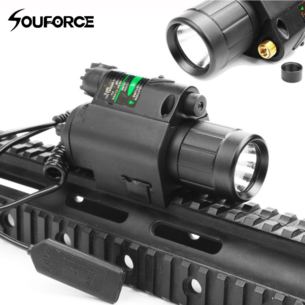 2 in 1 Combo Tactical Pulsed Green Laser Sight with 200LM LED Q5 Flashlight for Hunting Rifle and Pistol Glock 17 19 22 sq 2 2 in 1 pistol style 1 led white 1 led red flashlight keychain bronze black 3 x lr41