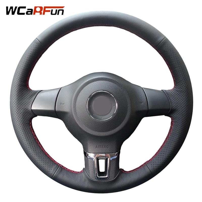 WCaRFun Black Leather Steering Wheel Cover for Steering-Wheel Volkswagen Golf 6 Mk6 VW Polo Sagitar Bora Santana Jetta Mk6