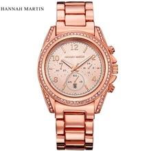 2017 Nuevo Lujo de la Marca HM Mujeres Del Reloj de Acero Inoxidable Reloj de pulsera de Cuarzo Señoras de La Manera Calendario Completo Relojes Relogio Feminino