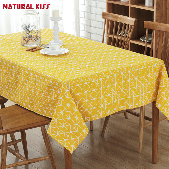 Charming High Quality Tablecloth Solid Color Lattice Pattern European Table Cover  Multi Functional Cotton Line Dinner Table