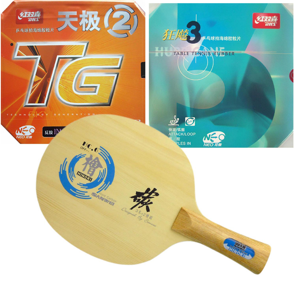 Pro Table Tennis PingPong Combo Paddle Racket Sanwei HC.6 + DHS NEO Hurricane3 and NEO TG2 shakehand Long Handle FL pro table tennis combo paddle racket galaxy yinhe 980 with dhs c8 neo hurricane3 shakehand long handle fl