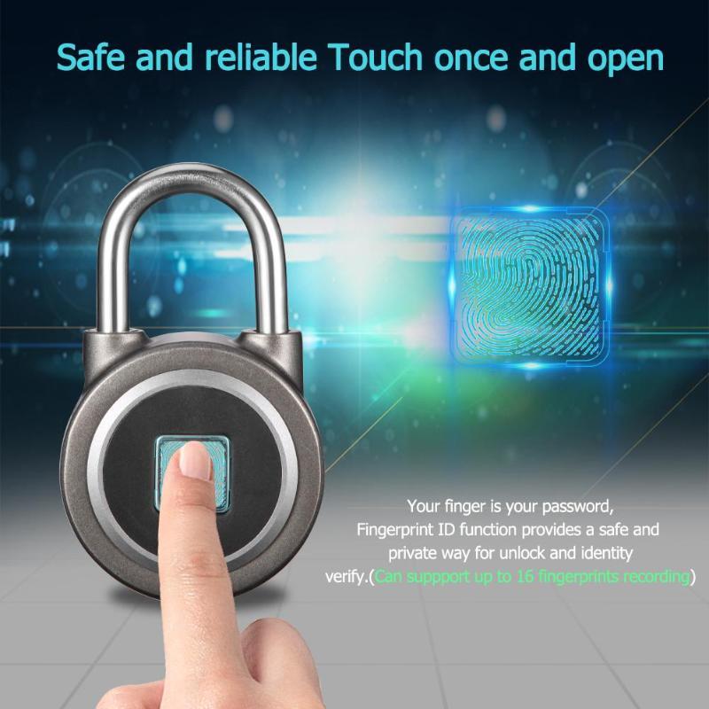 Serrure intelligente d'empreinte digitale Bluetooth téléphone APP cadenas USB rechargeable serrure sans clé pour porte de valise vélos armoire sac Truch