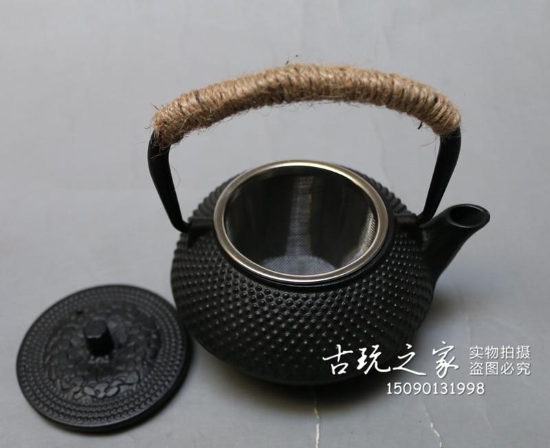 MOEHOMES + ancienne théière en fonte chinoise bouilloire en fonte avec passoire vintage décoration de la maison en métal artisanat théière, pot de vin - 4