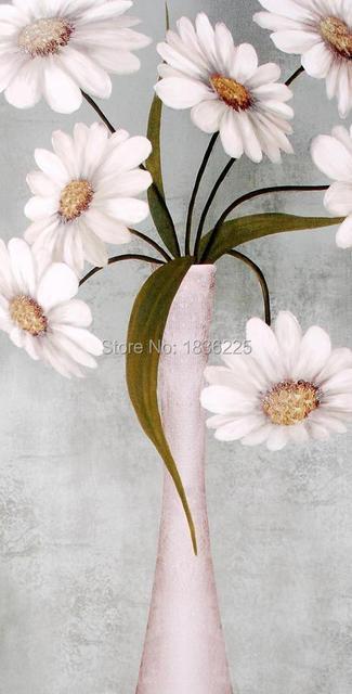 55 59 50 De Réduction Peint à La Main Toile Fleur Photo Tissu Peinture Moderne Peintures Art De Décoration Blanc Daisy Peinture à L Huile Dans