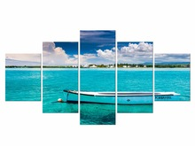 5 Pieces Free Shipping Wall Art Canvas Prints Beach Landscape Boat Modern Pictures For Living Room Home Decoration Framed