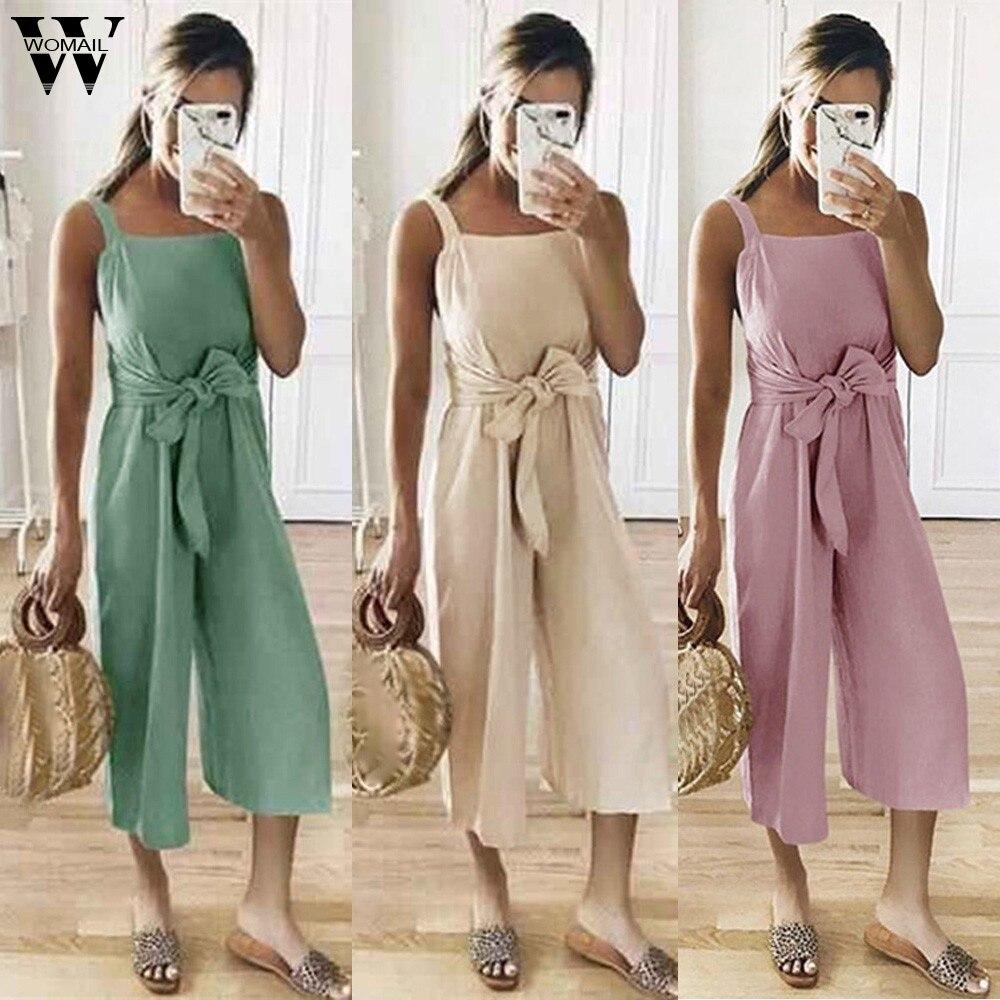 Womail Bodysuit Women Summer Casual Shoulder-Strap Sashes Bow Lace-up Sweet Nine's Jumpsuit Playsuit Fashion 2019 Dropship M5