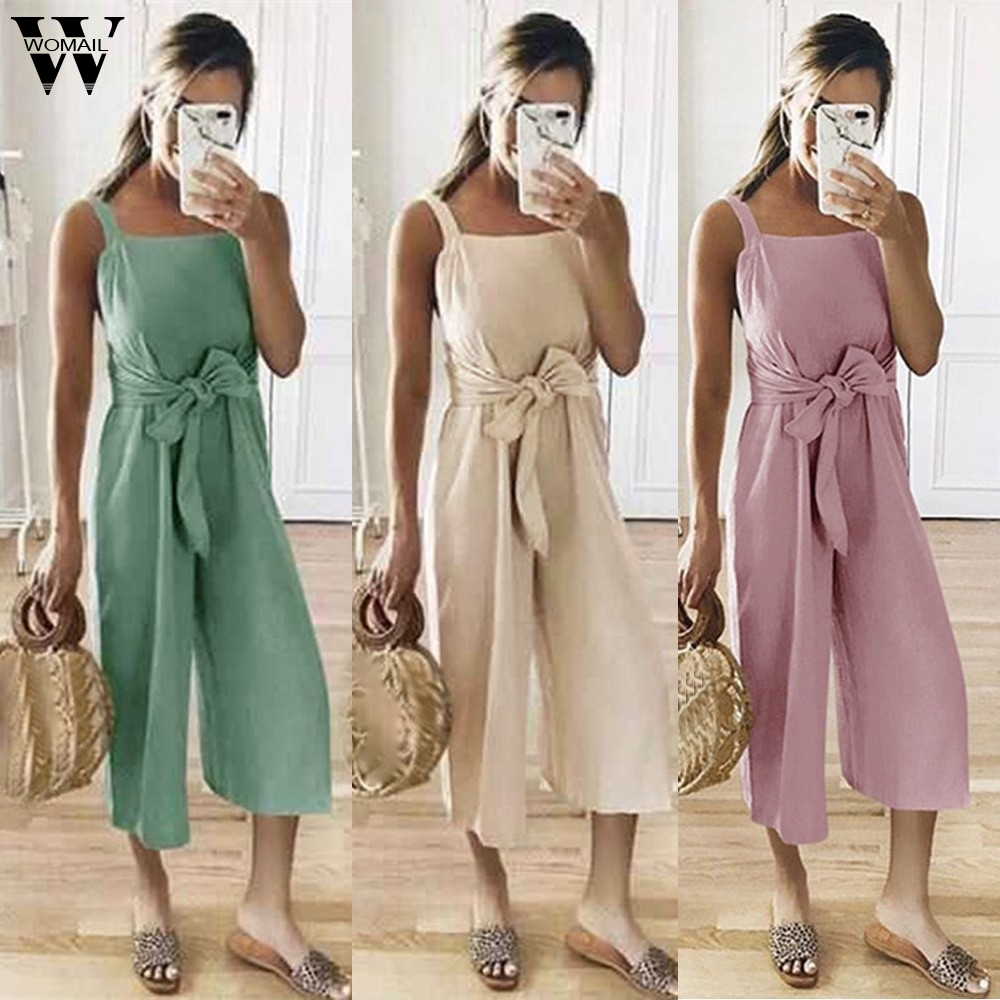 Womail bodysuit Women Summer Casual Shoulder-Strap Sashes Bow Lace-up Sweet Nine's   Jumpsuit   Playsuit fashion 2019 dropship M5