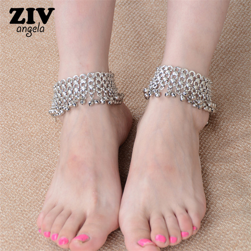 New Fashion Sexy Vintage Silver bells Anklet Chain Lots Bell Beads Ankle Bracelet Foot font b