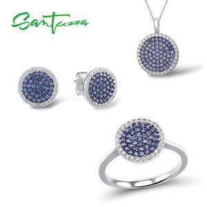 Image 1 - SANTUZZA Silver Jewelry Set For Women Blue Black CZ Round Circle Ring Earrings Pendant Set 925 Sterling Silver Fashion Jewelry