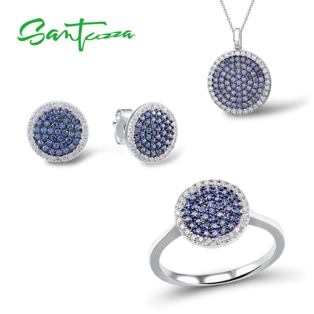 SANTUZZA argent ensemble de bijoux pour femmes bleu noir CZ rond cercle anneau boucles d'oreilles pendentif ensemble 925 en argent Sterling bijoux de mode