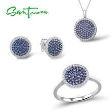 SANTUZZA gümüş takı seti kadınlar için mavi siyah CZ yuvarlak daire yüzük küpe kolye seti 925 ayar gümüş moda takı