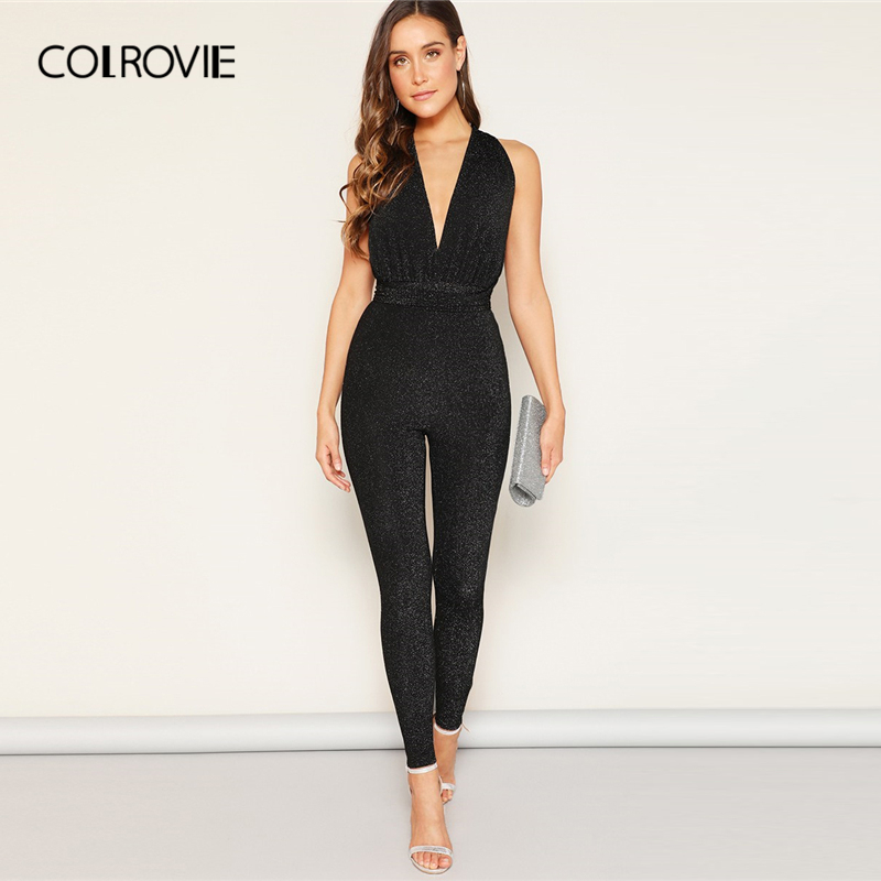 COLROVIE Black Solid Deep V Neck Criss Cross Backless Glitter Sexy   Jumpsuit   Women 2019 Summer Sleeveless Skinny Elegant   Jumpsuit