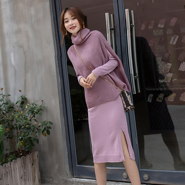 2018 Fashion Autumn Winter Dress Women S Knitted Suits Long Slim