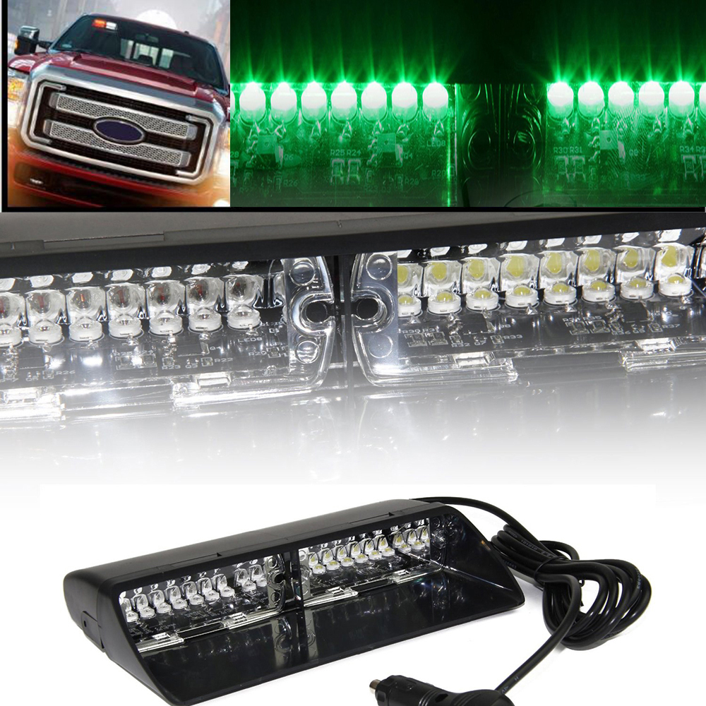 Green 16 LED Strobe Lights High Intensity LED Emergency Hazard Warning ForCar SUV Truck Interior Windshield With Suction Cups