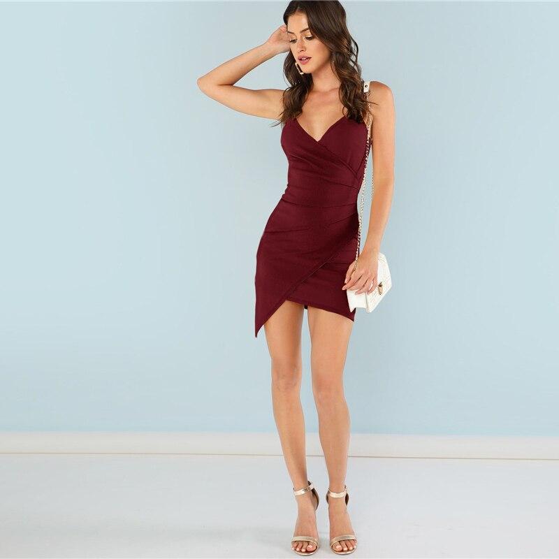 SHEIN Burgundy Ruched Side Asymmetrical Hem Cami Dress Elegant Solid Sheath Mini Dress Autumn Modern Lady Women Party Dresses 9