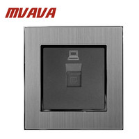 MVAVA DATA Socket 110 250V Satin Metal Frame UK EU NET RJ45 Lan Cable DATA Net