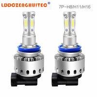 LDDCZENGHUITEC 7P H4 H7 H11 1Pair LED Car Headlight COB Chips H1 9005 9006 50W Car