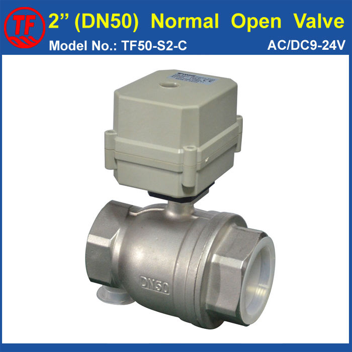 TF50-S2-C, BSP/NPT 2'' (DN50) Normal Open Stainless Steel Electric Water Valve 10Nm On/Off 15 Sec Metal Gear High Quality tf20 s2 c high quality electric shut off valve dc12v 2 wire 3 4 full bore stainless steel 304 electric water valve metal gear