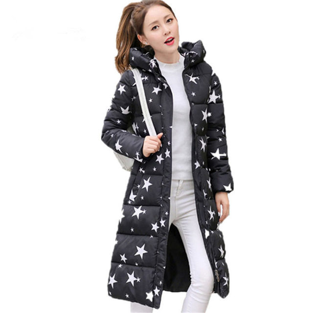 2706c3b9d4e Winter Jacket Women Hooded Slim Parka Coat Print Warm Slim Padded Long  Jacket Outerwear Plus Size Down Cotton Jacket Women Z88