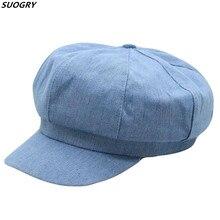 Unisex Denim Newsboy Cap Autumn Cowboy Hat Women Male Vintage Octagonal Cabbie Driver Flat Top Korean Painter Hats For