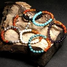 HOBBORN Trendy Chakra Beads Bracelet Women Men Handmade Natural Stone Healing Reiki Prayer Balance Unisex Bracelets Jewelry Cruz