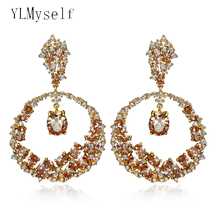 Very Luxury Workmanship Jewelry Gold color With Purple Red Champagne Zirconia Big Round Dangle Pendant Attractive Women earrings extremely attractive dangling earring blue green and clear oval cut stones of cubic zirconia big round dangle pendant earrings