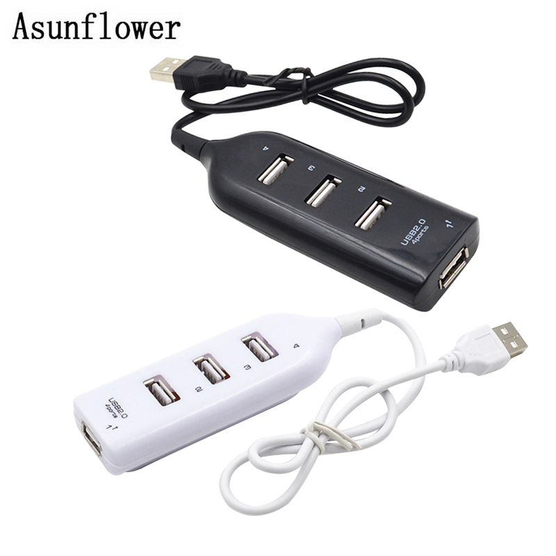 USB HUB 2.0 4 Port Portable USB Multi Splitter Extension Adapter Cable For Desktop/PC Laptop portable 4 port usb 2 0 hub for pc laptop white