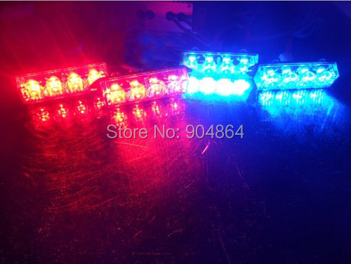 4*4 16 LED RED Blue Warning Blinking Strobe Flash Light/Lightbar Deck Dash Grille LED EMERGENCY STROBE LIGHTS 6 Mode 12V